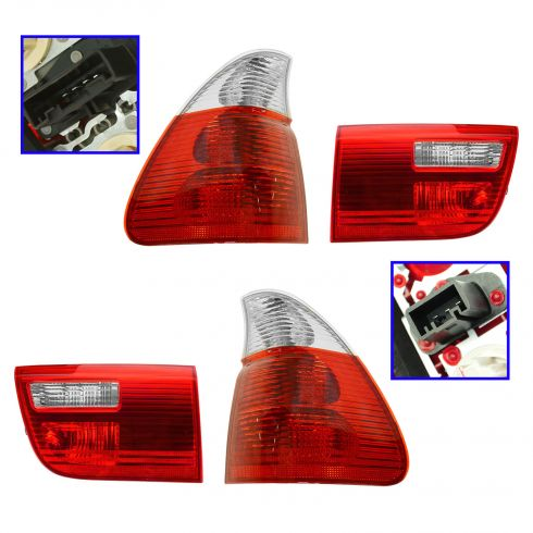 04-06 BMW X5 Inner & Outer Taillight (w/Clear Indicator) SET of 4