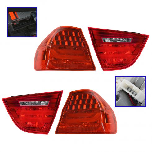 09-11 BMW 323i, 328i, 335i, M3 Sedan Inner & Outer Taillight Kit (Set of 4)