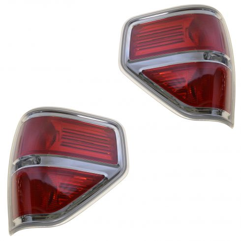 09-14 Ford F150 Styleside Taillight w/Chrome Bezel PAIR (Ford)