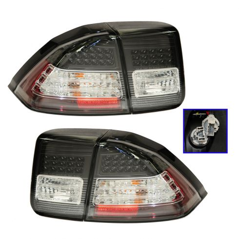 01-05 Honda Civic Sedan; 03-05 Civic Hybrid Sedan Black Bezel Perf LED Inner & Outer Taillight PAIR