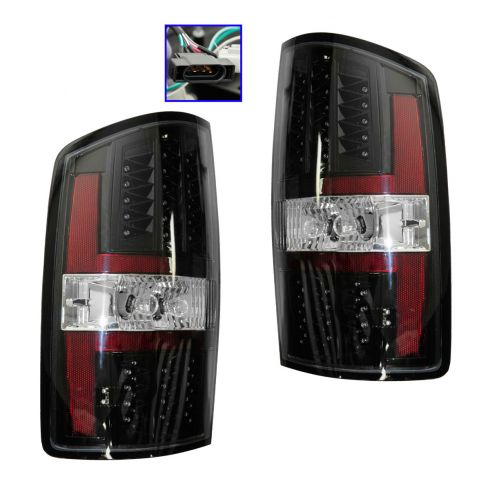 07-08 Dodge Ram 1500; 07-09 2500, 3500 Black Bezel Performance LED Taillight PAIR