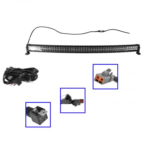 50 Inch - (288 Watt) Auxillary Combo 96 LED Light Bar w/Curved Riveted & Harness