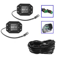 4 Inch - Square (18W) Spot Beam 6 LED Flush Mount Offroad Work Light PAIR w/ Harness