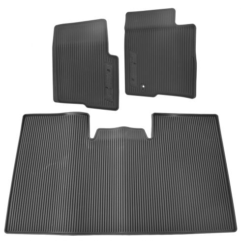 09-10 (thru 8/19/10) F150 Super Crew (w/o Sub Woofer) Blk Rbr ~F-150~ Logoed Flr Mat (Set of 3) (FD)