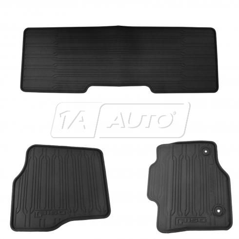 2015-16 Ford F150 Extended Cab Front & Rear Black Rubber All Weather Fllor Mat (Set of 3)