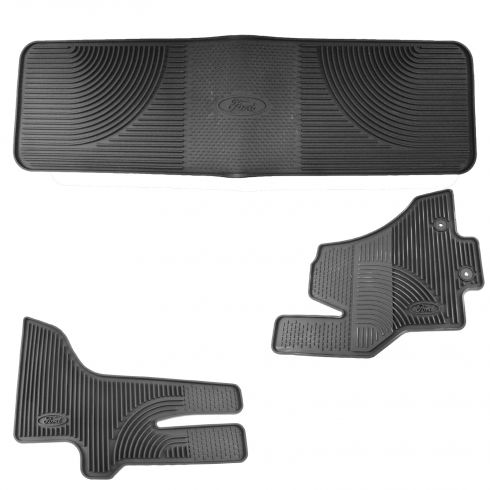 2011-15 Ford Econoline Van Front & Rear Black Rubber All Weather Floor Mat (Set of 4)