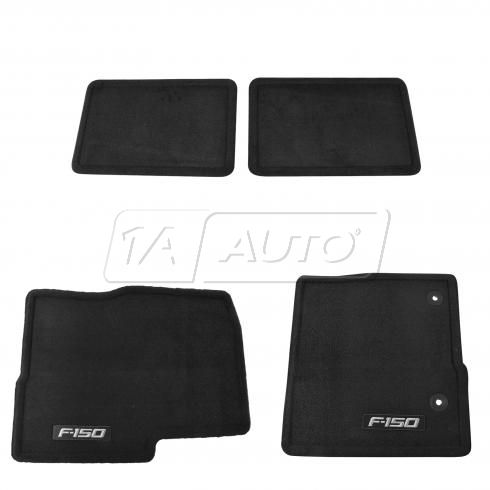 2012-14 Ford F150 Extended Cab Front & Rear Black Carpeted Floor Mat Kit (Set of 4)