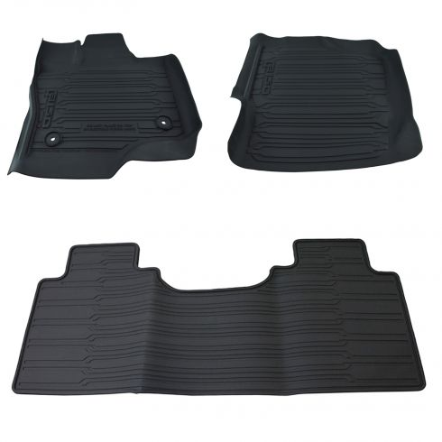 15-17 Ford F150 Super Cab ~F150~ Logoed Molded Blk Rubber Tray Style Floor Mat Kit (Set of 3) (Ford)