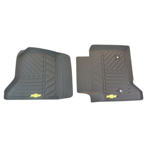 14-15 Silverado 1500; 15 2500, 3500 Mld Cocoa Rub ~Bowtie~ Logoed Frt All Weather Floor Mat PR (GM)