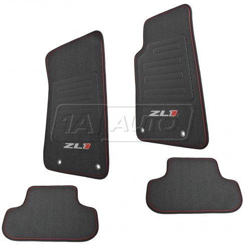 10-15 Chevy Camaro Embroidered White & Red ~ZL1~ Premium Black Carpeted Floor Mats (Set of 4) (GM)