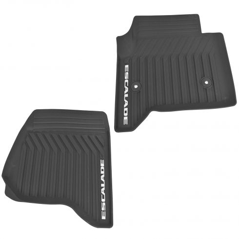 15-16 Escalade, Escalade ESV Mld Blk Rubber ~ESCALADE~ Logoed Front All Weather Floor Mat PAIR (GM)