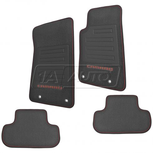 10-15 Chevy ~CAMARO~ Logoed Front & Rear Premium Black Carpet Floor Mat Set w/Orange Edging (GM)