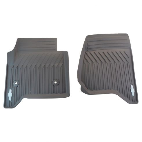 15-16 Suburban, Tahoe Mld Cocoa Rubber ~Bowtie~ Logoed Front Premium All Weather Floor Mat PAIR (GM)