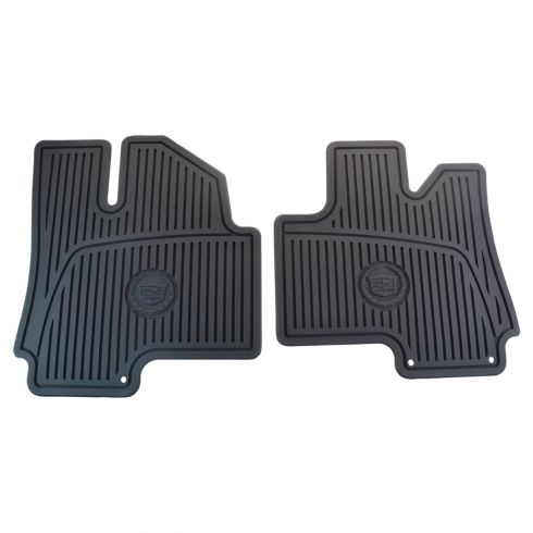 10-15 SRX Molded Ebony Rubber ~Cadillac Crest/Emblem~ Loged Front All Weather Floor Mat PAIR (GM)
