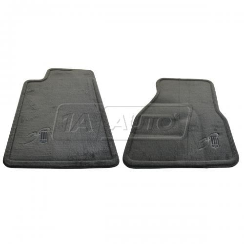 1997 Chevy Camaro Dark Gray Embroidered ~30Th Anniversary~ Logoed Carpeted Front Floor Mat PAIR (GM)