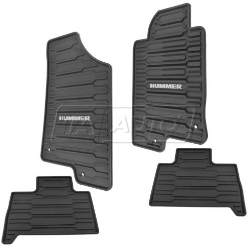06-10 Hummer H3; 09-10 H3 SUT Mld Ebony Rub ~HUMMER~ Logoed Frt & Rear All Weather Flr Mat Set (GM)