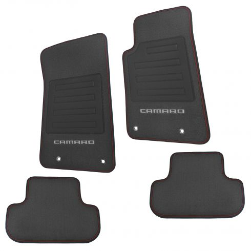 10-15 Chevy ~CAMARO~ Logoed Front & Rear Premium Black Carpet Floor Mat Set w/Red Edging (GM)