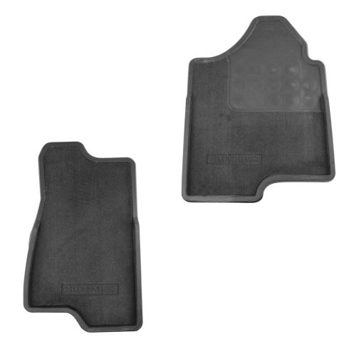 03-09 Hummer H2 ~Hummer~ Logoed Front Ebony Carpeted Floor Mat PAIR (GM)