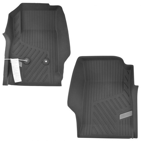 15-16 GMC Canyon ~GMC~ Logoed Jet Black Tub Style Front Rubber Floor Liner PAIR (GM)