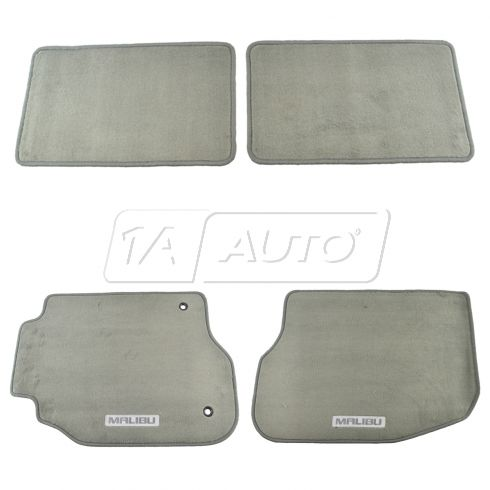 08-12 Chevy Malibu Embroidered ~MALIBU~ Logoed Titanium Gray Carpeted Floor Mat Kit (Set of 4) (GM)