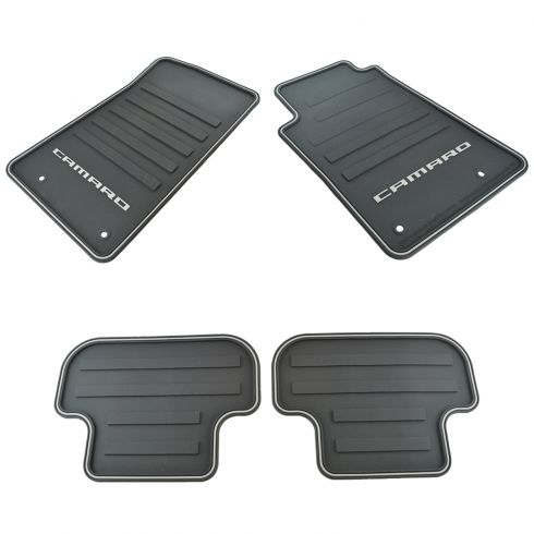 10-15 Chevy ~Camaro~ Logoed Frt & Rr All Weather Blk Rbbr w/Silvr Edging Flr Mat Kit (Set of 4) (GM)