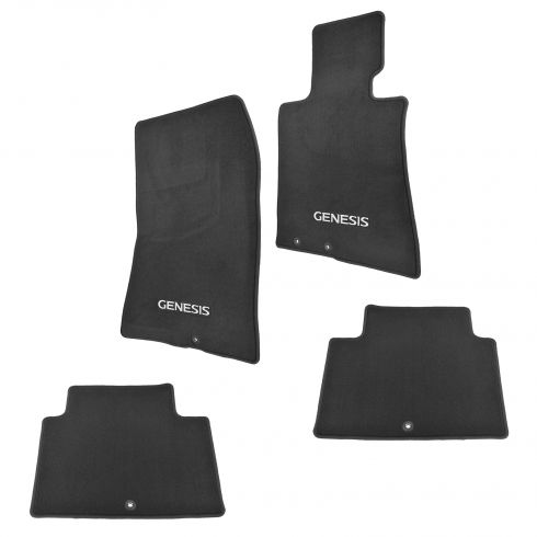 11-13 Hyundai Genesis Sedan Front & Rear Black Carpet Floor Mats (Set of 4) (Hyundai)