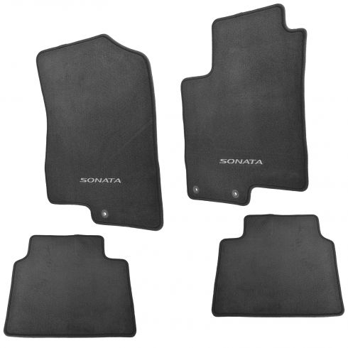 09-10 Hyundai Sonata Front & Rear ~Sonata~ Embroidered Black Carpeted Floor Mat (Set of 4) (Hyundai)