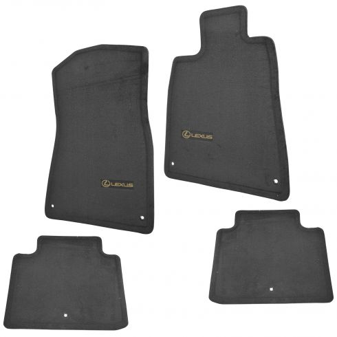 06-11 GS300, GS350, GS460 2WD Embroidered ~Lexus~ Ebony Carpeted Floor Mat Kit (Set of 4) (Lexus)