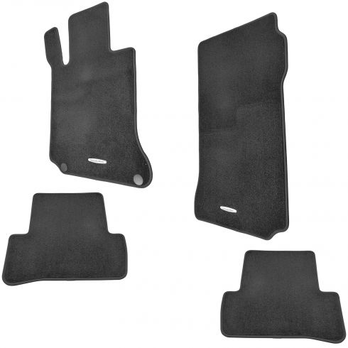 08-14 MB C-CLass Sedan w/LHD ~Mercedes Benz~ Logoed Black Carpeted Front & Rear Floor Mat Kit (MB)