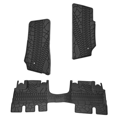 07-13 Jeep Wrangler Unlimted 4 Door Front & Rear Molded Black Rubber Slush Floor Mat SET (MOPAR)