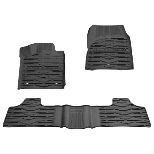 11-12  Jeep Grand Cherokee Front & Rear Molded Black Rubber Slush Floor Mat SET (MOPAR)