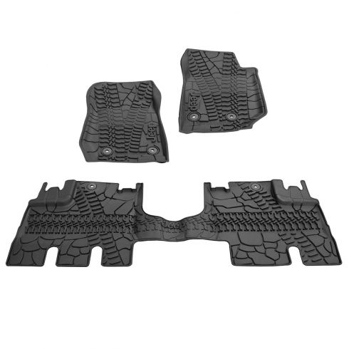 14-15 Jeep Wrangler 4 Door Front & Rear Molded Black Rubber Slush Floor Mat SET (MOPAR)