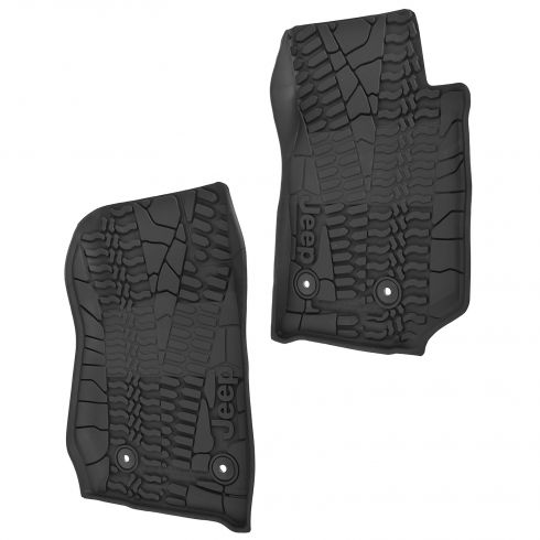 14-15 Jeep Wrangler 2 Door Front Molded Black Rubber Slush Floor Mat PAIR (MOPAR)