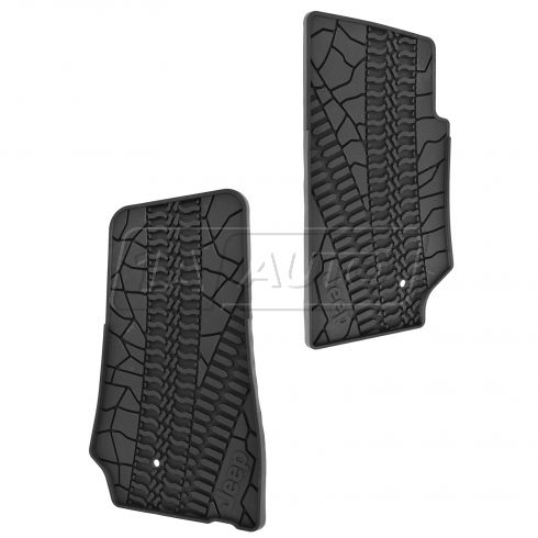 07-14 Jeep Wrangler 2 Door Front Molded Black Rubber Slush Floor Mat PAIR (MOPAR)