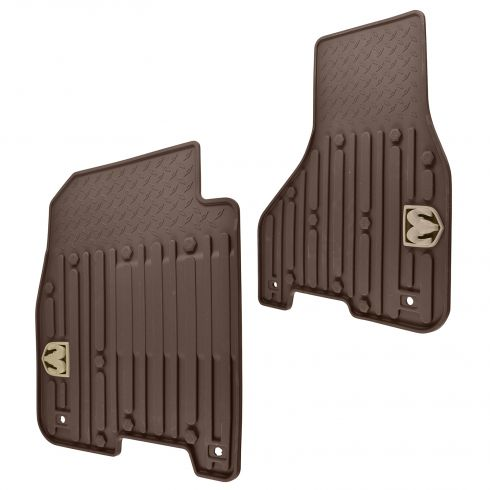 13-16 Ram 1500-3500 Crew Cab ~Rams Head~ Logoed Canyon Brown Front Slush Floor Mat PAIR (MP)