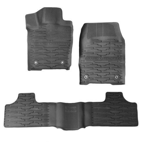 16-17 Jeep ~Grand Cherokee~ & ~Jeep~ Logoed Frt & Rear Molded Blk Rubber Slush Floor Mat Set (Mopar)