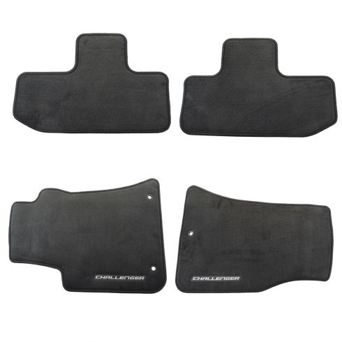 12-16 Challenger Slate Gray Carpeted ~CHALLENGER~ Logoed Front & Rear Floor Mat Kit (Set of 4) (MP)