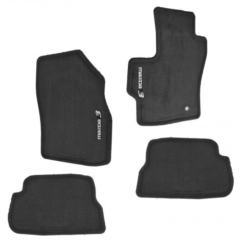 04-09 Mazda 3 Front & Rear Black Carpeted Floor Mats (Set of 4)