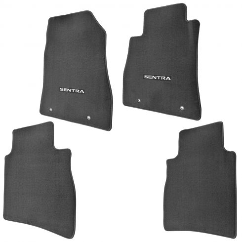 13-15 Nissan Sentra Embroidered ~SENTRA~ Black Carpeted Front & Rear Floor Mat Kit (Set of 4) (NS)