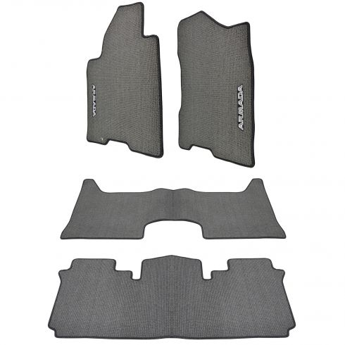 04-07 Nissan Armada Embroidered ~ARMADA~ Charcoal Carpeted Frnt & Rear Floor Mat Kit (Set of 4) (NS)