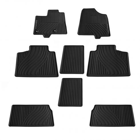 13-14 Toyota Sienna Black Rubber Floor Mat Set (8 Piece) (Toyota)
