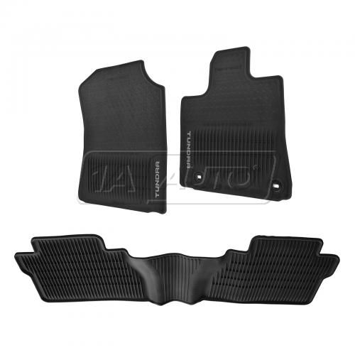 12-15 Toyota Tundra Crewmax All Weather Black Rubber Floor Mats (Set of 3) (Toyota)
