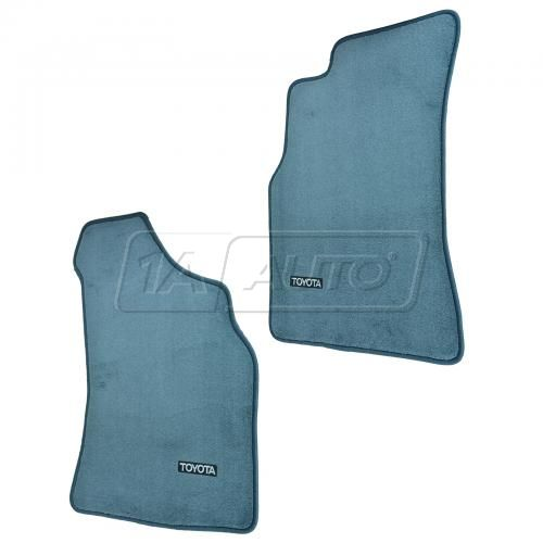 89-95 Toyota Pickup, 4Runner Embroidered ~TOYOTA~ Blue Carpeted Front Floor Mat PAIR (Toyota)