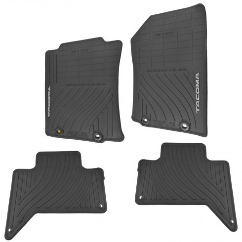 12-15 Tacoma Double Cab Molded Black Rubber ~TACOMA~ Logoed All Season Floor Mat (Set of 4) (Toyota)