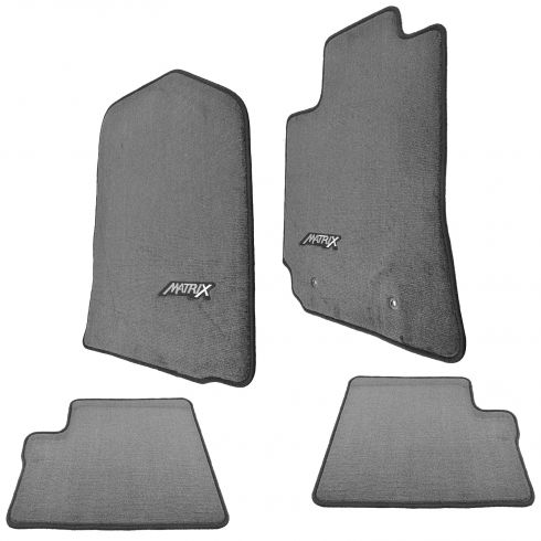 03-08 Matrix (w/o Rear Floor Htr) Embroidered ~MATRIX~ Gray Carpeted Floor Mat Kit (Set of 4) (TY)