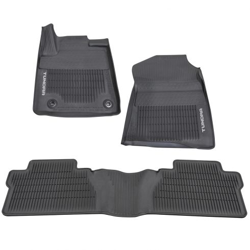 12-16 Tundra Crewmax ~TUNDRA~ Logoed All Weather Tub Style Blk Rubber Floor Mats (Set of 3) (Toyota)
