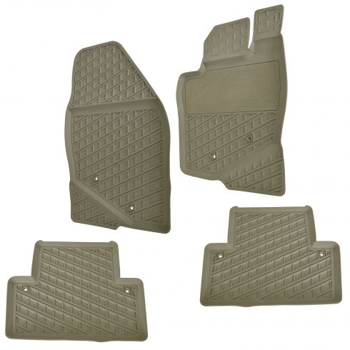 01-07 Volvo V70, XC70 Molded Beige Rubber Front & Rear All Weather Floor Mat Kit (Set of 4) (Volvo)