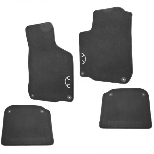 98-10 VW Beetle Front & Rear Black Carpeted ~Bug~ Logoed w/Round Clips Floor Mats (Set of 4) (VW)