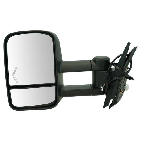 2007-09 Chevy Silverado, GMC Sierra Pwr Htd Dual Arm w/Chevron Signal Mirror LH