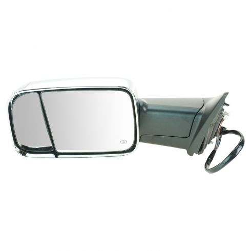 12 Ram 1500, 2500, 3500 Power Heated Puddle Light Turn Signal Memory Chrome Tow (Flip Up) Mirror LH